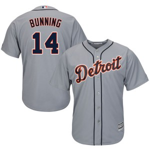 Men's Majestic Detroit Tigers Jim Bunning Authentic Gray Cool Base Road Jersey