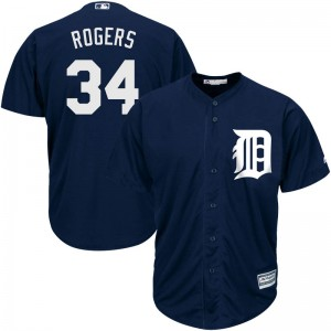 Youth Majestic Detroit Tigers Jake Rogers Replica Navy Cool Base Alternate Jersey