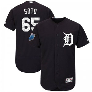 Youth Majestic Detroit Tigers Gregory Soto Authentic Navy Flex Base 2018 Spring Training Jersey
