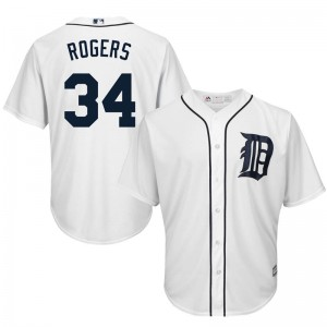 Youth Majestic Detroit Tigers Jake Rogers Replica White Cool Base Home Jersey