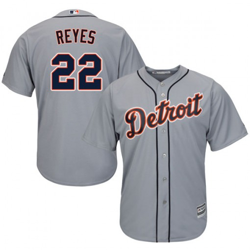 Men's Majestic Detroit Tigers Victor Reyes Replica Gray Cool Base Road Jersey